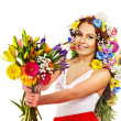 Woman with flower bouquet. — Stock Photo #22901128