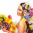 Woman with flower bouquet. — Stock Photo