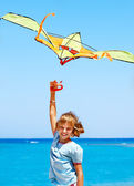 Kid flying kite outdoor. — Foto de Stock