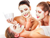Group women with facial mask. — Stock fotografie