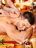 Woman getting bamboo massage. — Foto de Stock
