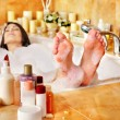 Woman relaxing at  bubble bath. - Stock Photo