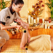 Woman getting feet massage - Stock Photo
