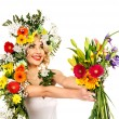 Woman with make up and flower. — Stock Photo #23311146