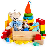 Children toys with teddy bear and cubes. — Foto Stock