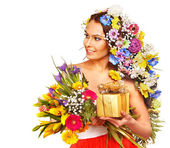 Woman with gift box and flower. — Stock Photo