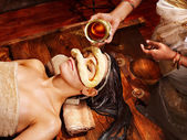 Woman having mask at ayurveda spa. — Stock Photo