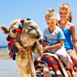 Tourists riding camel on the beach of Egypt. — Stock Photo #23674295