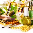Decorative cosmetics and flower. — Stock Photo