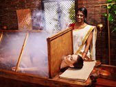 Woman having Ayurveda sauna. — Stock Photo