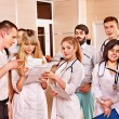 Royalty-Free Stock Photo: Group doctors at reception in hospital.