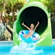 ������, ������: Child on water slide at aquapark