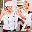 Male wearing chef uniform. - Stock Photo