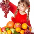 Royalty-Free Stock Photo: Child with group fruit and vegetable.