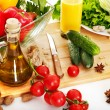 Fresh vegetable and olive oil. - Stock Photo