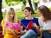 Group student with notebook on bench outdoor. — Stock Photo