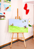 Easel in art class. — Stock Photo