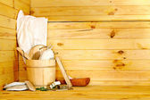 Still life with sauna accessories. — Foto Stock