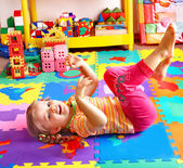 Child playing with building block . — Stock Photo