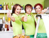 Group at cafeteria. — Stock Photo