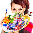 Stock Photo: Artist womwith paint palette.