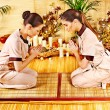 Women at bamboo spa . — Stock Photo #26318229