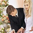 Groom and bride register marriage — Stock Photo #27608207