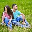 Couple on green grass. — Stock Photo