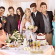 Group at wedding table. — Stock Photo