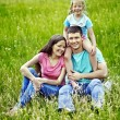 Stock Photo: Family on green grass.