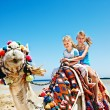 Tourists riding camel  on the beach of  Egypt. — Stok fotoğraf
