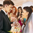 Group drinking champagne at wedding. — Stock Photo