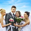 Group bride and groom summer outdoor. — Stock Photo
