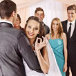 Stock Photo: Group at wedding dance.