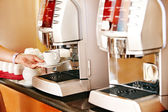 Coffee machine with cup of coffee . — Stock Photo