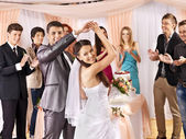 Group at wedding dance. — 图库照片