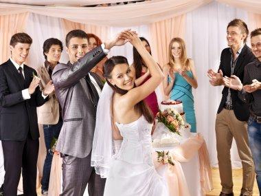 Group at wedding dance.