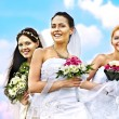 Group bride summer outdoor. — Stock Photo
