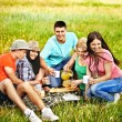 Stock Photo: Group people on picnic.