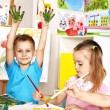 Children boy and girl painting. — Stock Photo