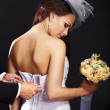 Bridal trying on wedding dress. — Foto Stock