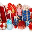 Child girl with group gift. — Stock Photo