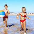 Children  running on  beach. — Stock Photo