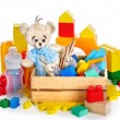 Children toys with teddy bear and cubes. — Stock Photo