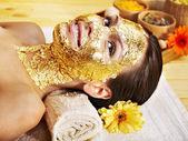 Woman getting facial mask . — 图库照片