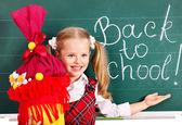 Child with school cone. — Stock Photo