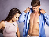 Couple dress up clothes. — Stock Photo