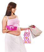 Pregnant woman with shopping bag. — Stock Photo