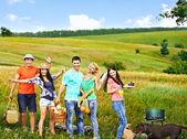 Group people on picnic. — Stock Photo