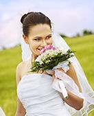 Bride summer outdoor. — Stock Photo